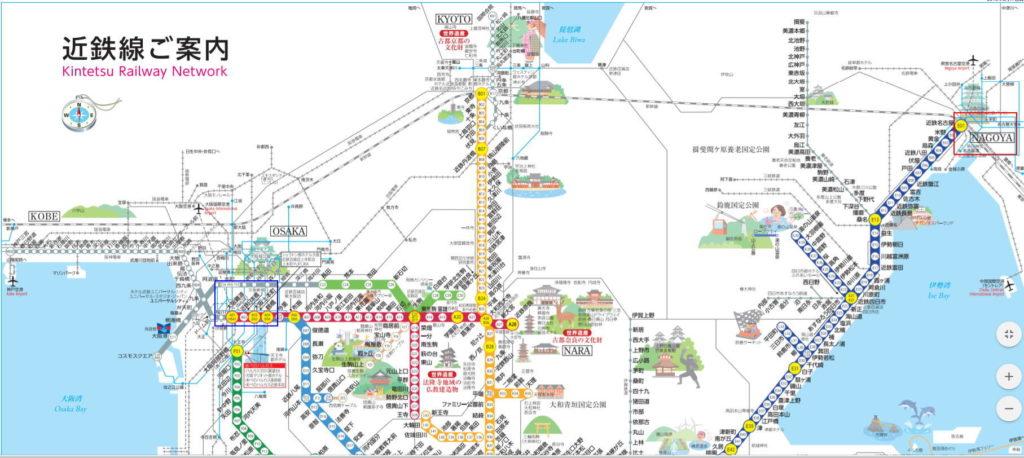 近鉄路線図大阪難波~名古屋間印付き