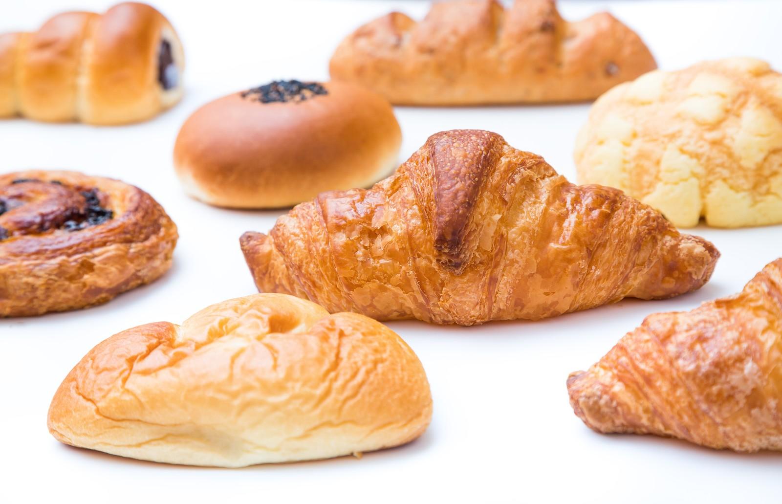 菓子パン・クロワッサン・メロンパン・チョココロネ・クリームパン・あんぱん