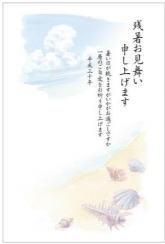 残暑見舞い「砂浜と貝」5枚入り640円お手軽かもめーる